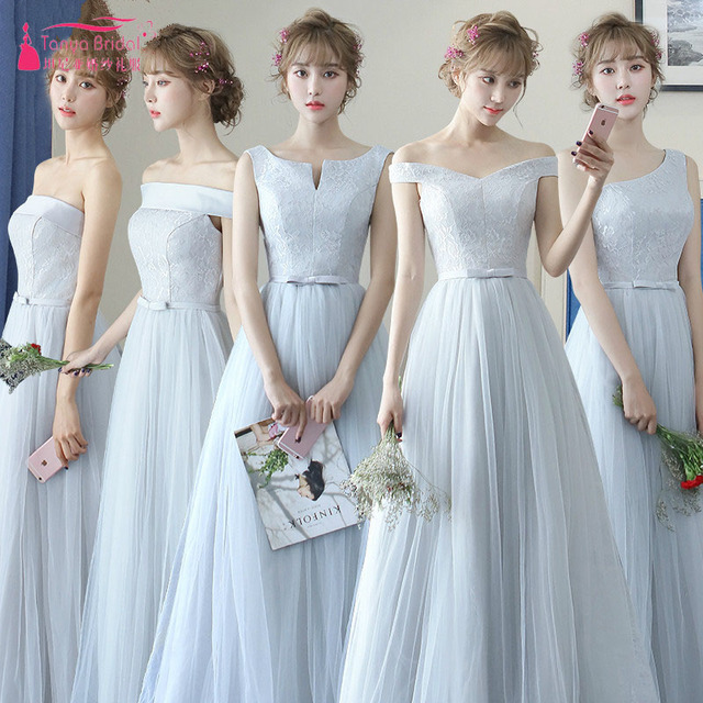 d7144b0f6515 Silver A Line Bridesmaid Dresses Lace And Tulle Cheap Wedding Guest Party Gowns  Maid Of Honor Gowns ZB057