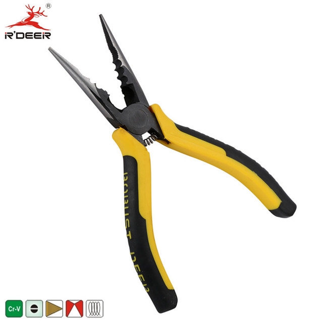 Rdeer 6 150mm long nose pliers cable cutter chrome for Fishing crimping tool