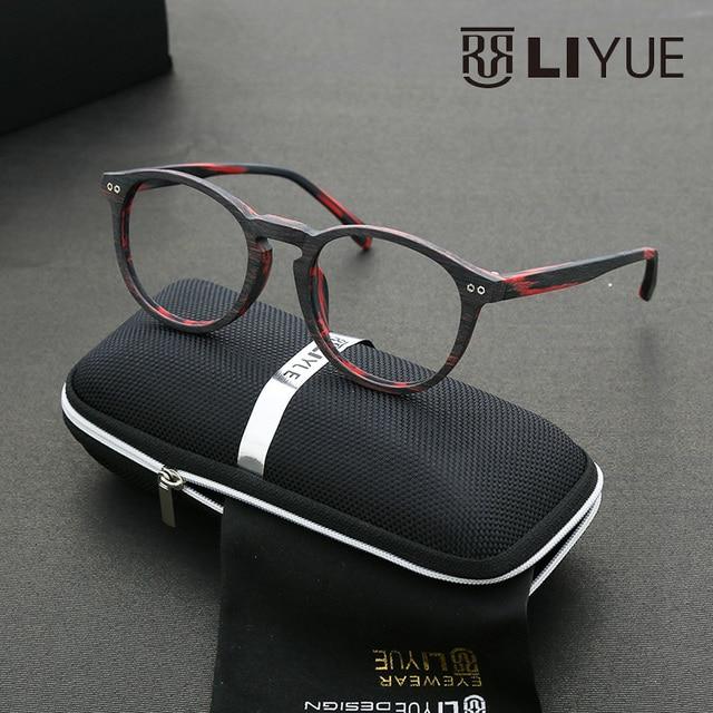 Новое поступление ясно, мода очки текстура древесины оптических оправ Высокого качества женщин очки Круглые очки кадр полный обод 6609