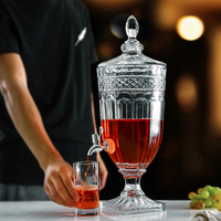 Elegant Glass Cold Beverage Dispenser with Stand Leak Free Spigot 101.5OZ 3000ML Glassware Pitcher for Water Juice Wine Kombucha