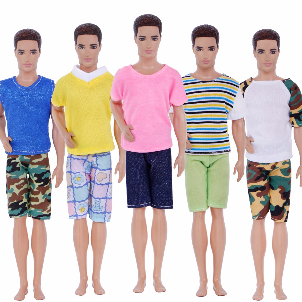 Handmade 5 Pcs Men Outfits Mixed Style Stripe Camouflage T-Shirt Vest Plaid Shorts Pants Clothes For Ken Doll Accessories GiftsHandmade 5 Pcs Men Outfits Mixed Style Stripe Camouflage T-Shirt Vest Plaid Shorts Pants Clothes For Ken Doll Accessories Gifts