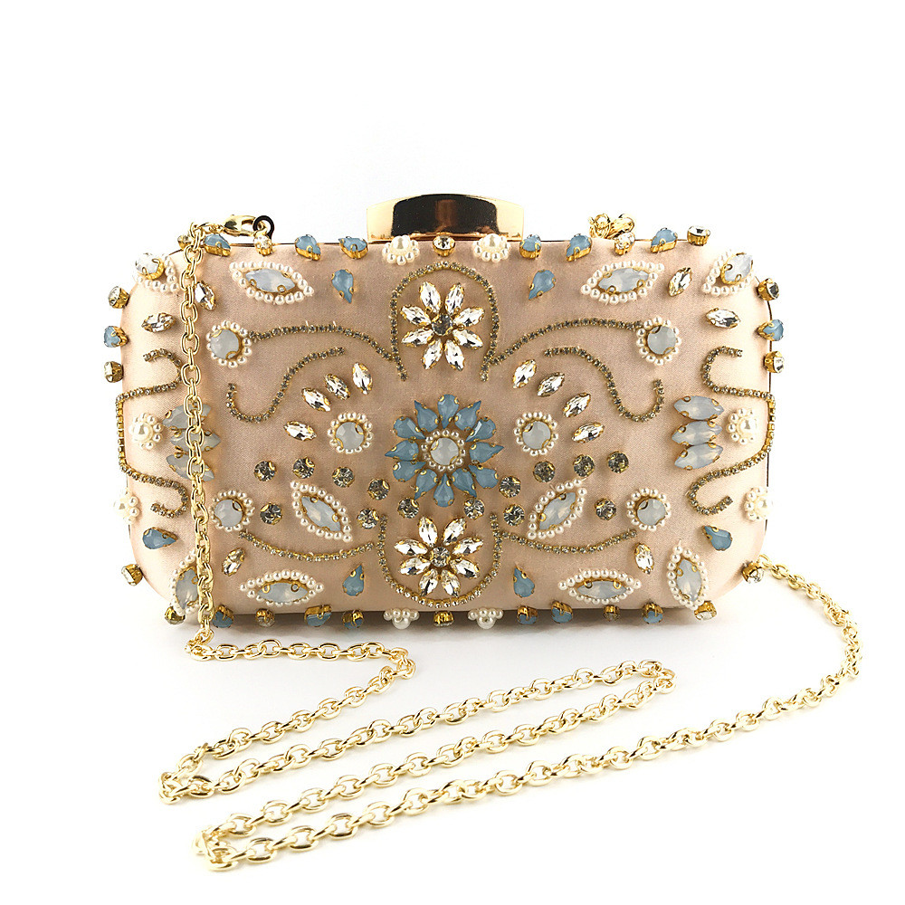 Ladybabag Crossbody-Bags Beaded-Clutch Party-Handbag Flower Evening-Chain Crystal Brand Women