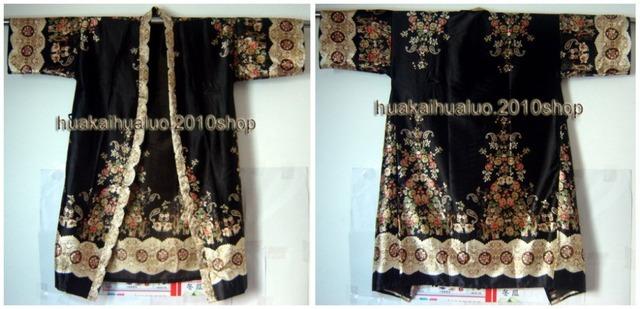 Frete Grátis! preto Moda lady Quimono Veste de Banho Vestido de Yukata Bath Hand-Made Pintado Kaftan Robe Com Cinto Flor XSZ-2
