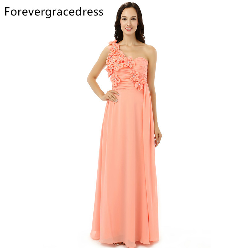 US $92.3 35% OFF|Forevergracedress Coral Color Bridesmaid Dress New One  Shoulder Flowers Chiffon Long With Lace Up Wedding Party Gown Plus Size-in  ...