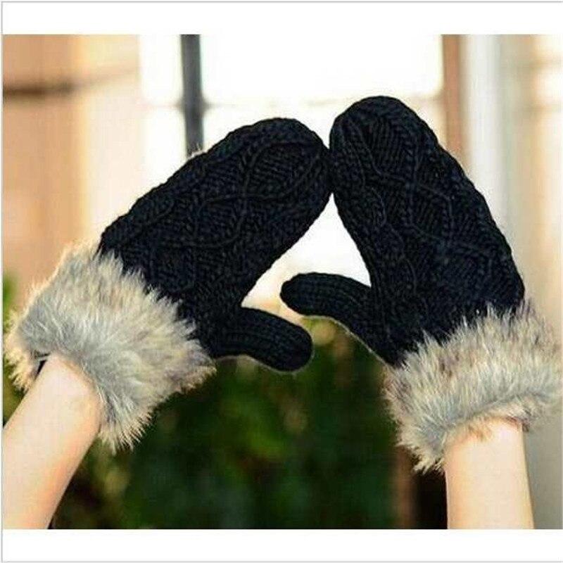 50626d6417aa9 ペア女性レディース編みウール毛皮ホルター手首冬暖かい手袋トレンディ女の子ミトンギフト熱い
