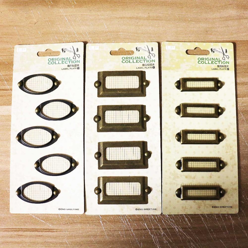ENOGREETING Antieke vergulde metalen tag Klassiek DIY label frame set - Huisdecoratie