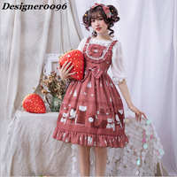 Lolita 2019 summer new lolita dress Japanese style sweet cute girl skirt bow tie skirt birthday party cosplay costume S XL Red