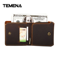 Temena High Quality New Vintage Handmade Men Wallets Crazy Horse Leather Multi Functional Genuine Leather Wallet