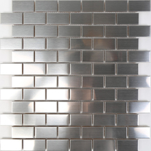 Wholesale 66 Pieces Peel and Stick Stainless Steel Kitchen Backsplash Tiles 30X30cm Silver Brushed Metal Mosaic Wall Sticker