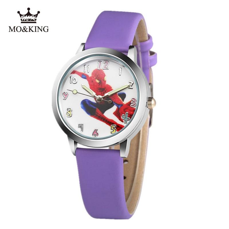 New Fashion Brand Cartoon Spiderman Cute Kids Quartz Watch Children Girls Boys Leather Bracelet Wrist Watch Wristwatch Clock