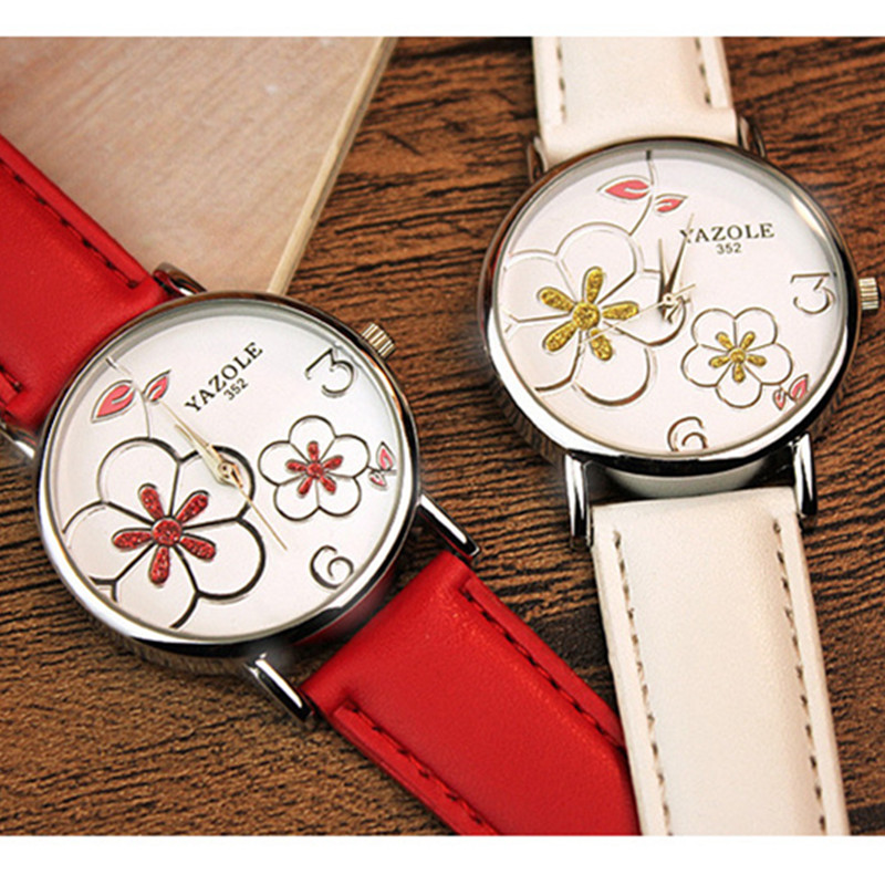 YAZOLE Brand Elegant Flowers Fashion Crystal Watch Women Watches Leather Strap Quartz Watch Lady Hour montre