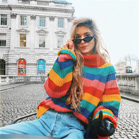Turtleneck Winter Sweater Women Long Sleeve Striped Rainbow Sweater Knitted Women Pullovers and Sweaters Casual Loose Jumper
