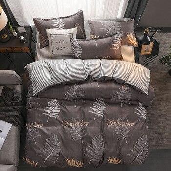 Home textile Summer white green leaf bedding set black grey full duvet cover bed sheet fresh Spring kid adult bedding five size