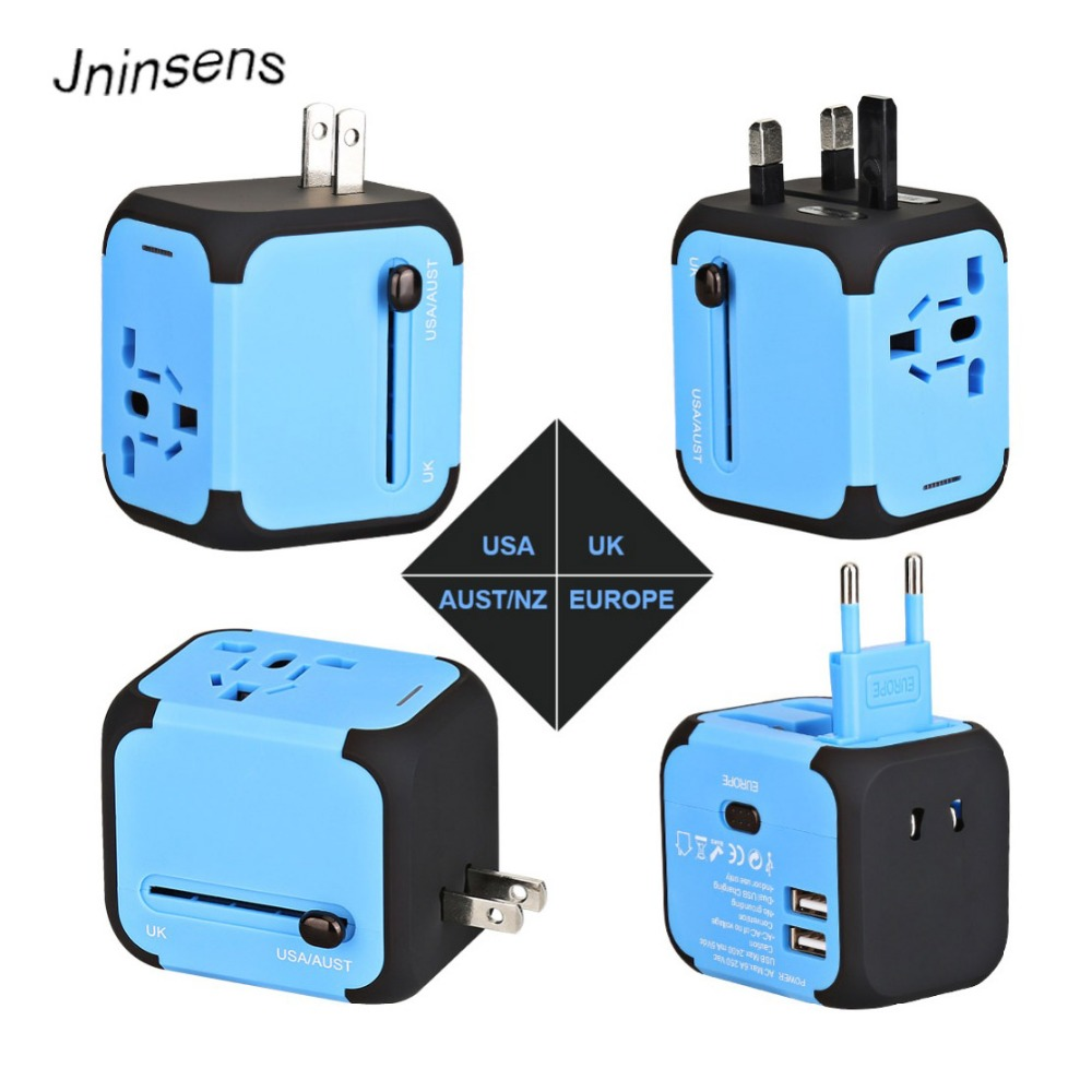 Dual USB Charging 2.4A LED Power Indicator universal Travel Adapter Electric Plugs Sockets Converter US/AU/UK/EU