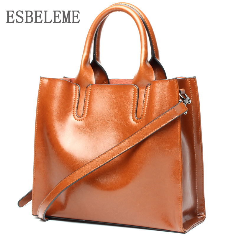 Luxury 2019 Genuine Leather Women Handbags Oil Wax Casual Tote Bag for Female Solid High Capacity