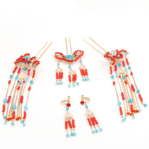 Image 5 - Chinese show and Hanfu bridal tiara suit tassels Feng Guanxia hair accessories wedding red costume show