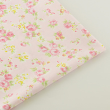 100% Cotton Fabric Light Pink Floral Designs Fabrics Doll Home Textile Decoration Bedding Clothing Tissue Quilting Patchwork CM