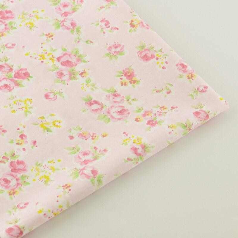 100% Tela de Algodón Rosa Claro Diseños Florales Decoración Muñeca de Tejidos Te