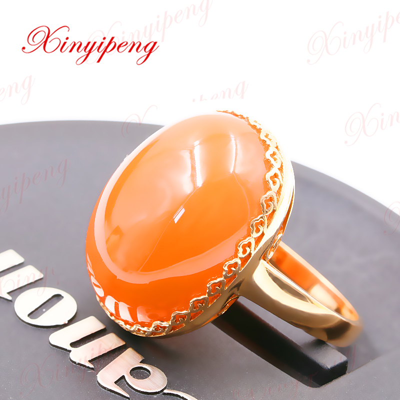 Xinyipeng18K rose gold inlaid natural south red agate rings women ring Design is good-in Rings ...