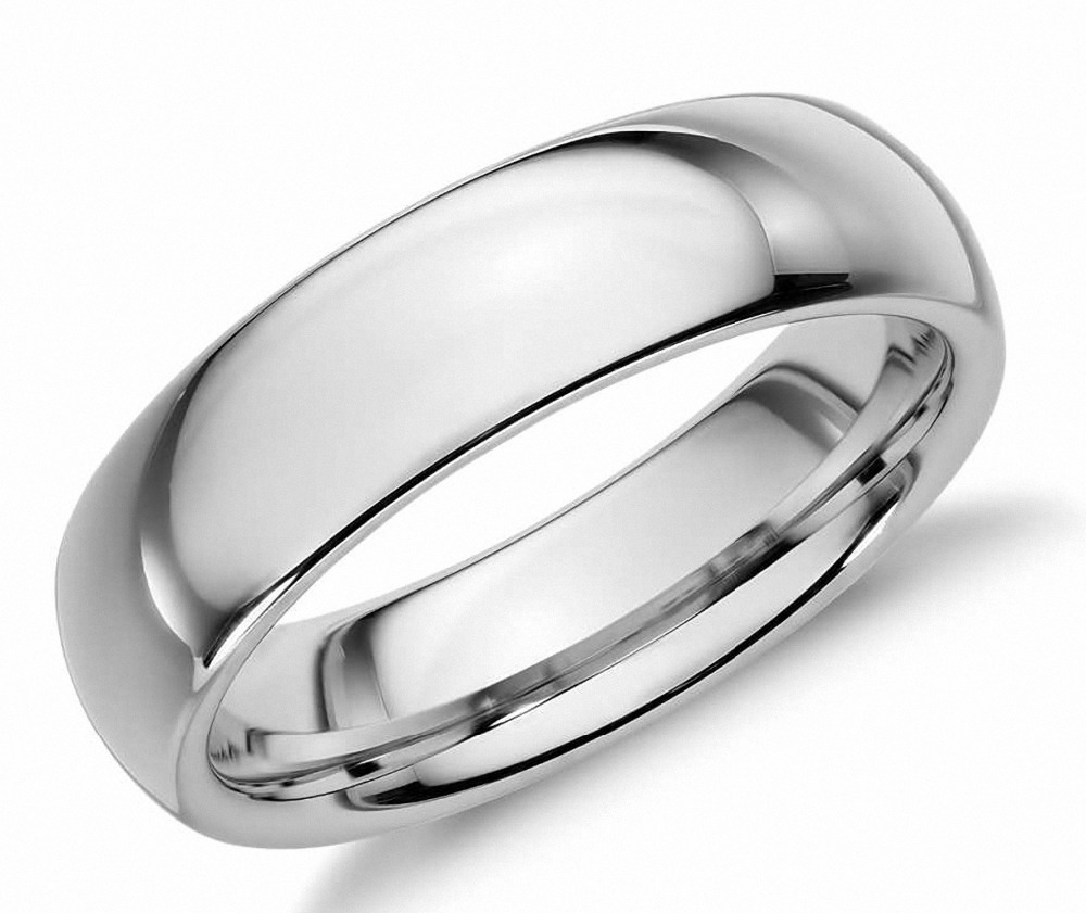 White Tungsten Carbide 6mm Polished Classic Wedding Ring Size 5-12