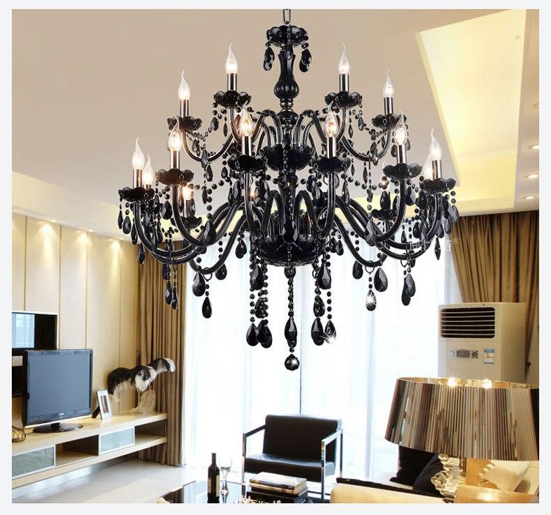 18 15 10 8 6 Lichter Arme Luxus Schwarz Kristall Kronleuchter Beleuchtung