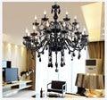 18 Luzes de Luxo preto Lustre de cristal vela do candelabro de cristal da lâmpada de iluminação da lâmpada breve moda sala lâmpadas de iluminação