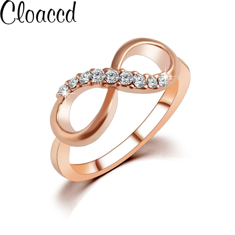 Cloaccd nueva moda Rosa oro color lujo anillo infinito forma cristal ZIRCON  Anillos para las mujeres accesorio de joyería de la boda 7e40a2ddc902