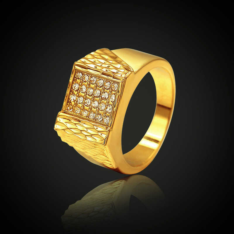 Fashion Luxury Big Ring Statement Men Women Wedding Zircon Engagement Ring Trend Geometric Gold Romantic Party Gift