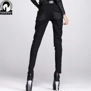 Image 2 - Fashionable Womens European Style Harem Pants Black Pencil Pants 100% High quality Elastic Waist Stretchable Material 2020