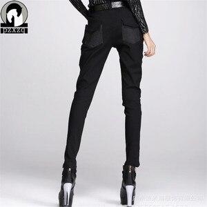 Image 2 - แฟชั่นผู้หญิงยุโรปสไตล์Haremกางเกงกางเกงดินสอสีดำ100% คุณภาพสูงยืดหยุ่นเอวยืดวัสดุ2020