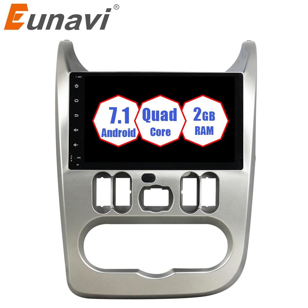 Eunavi Android 7.1 Car Radio GPS Navigation For Renault Logan Sandero Duster 2015 2016 1 Din 9'' Stereo 2G RAM Quad core wifi bt android 7 1 car dvd stereo for renault dacia duster sandero lodgy dokker auto radio gps navigation car multimedia with wifi bt