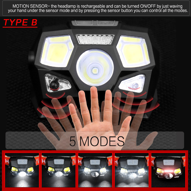 Powerfull 10000Lms LED Headlamp Rechargeable Body Motion Sensor Headlight Camping Flashlight Head Light Torch Lamp With USB in Headlamps from Lights Lighting