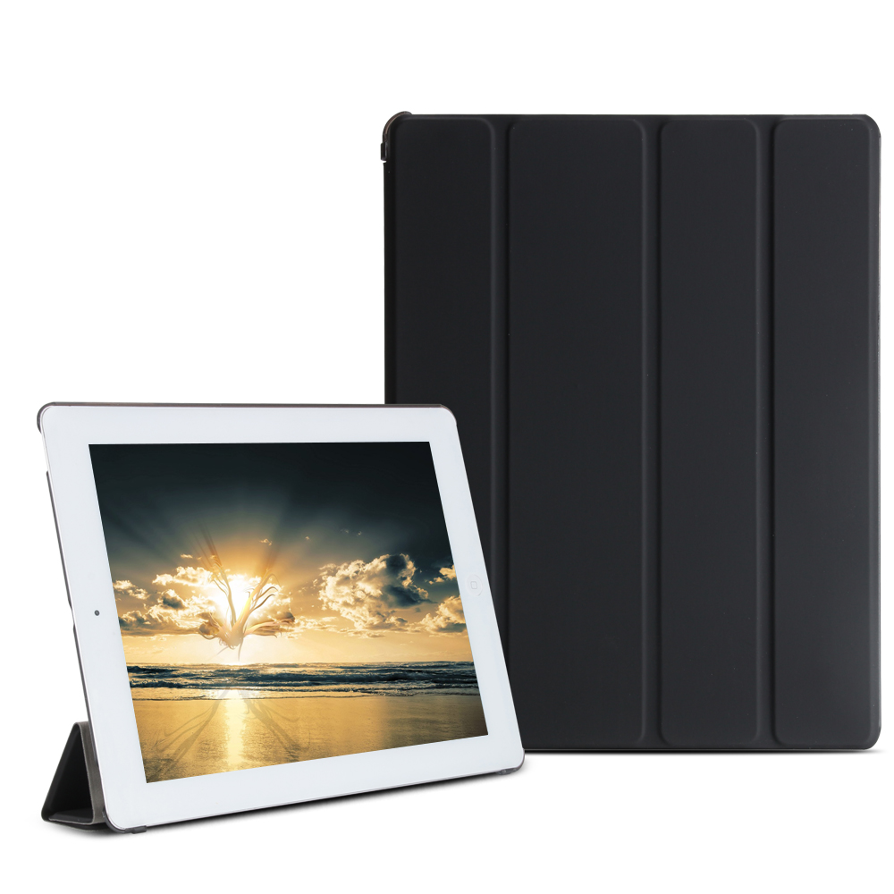 Case For Ipad 2 3 4Pu Leather Smart Cover Auto Sleep With Hard Pc Matte Translucent Back Hard Cover For Ipad 2 Case