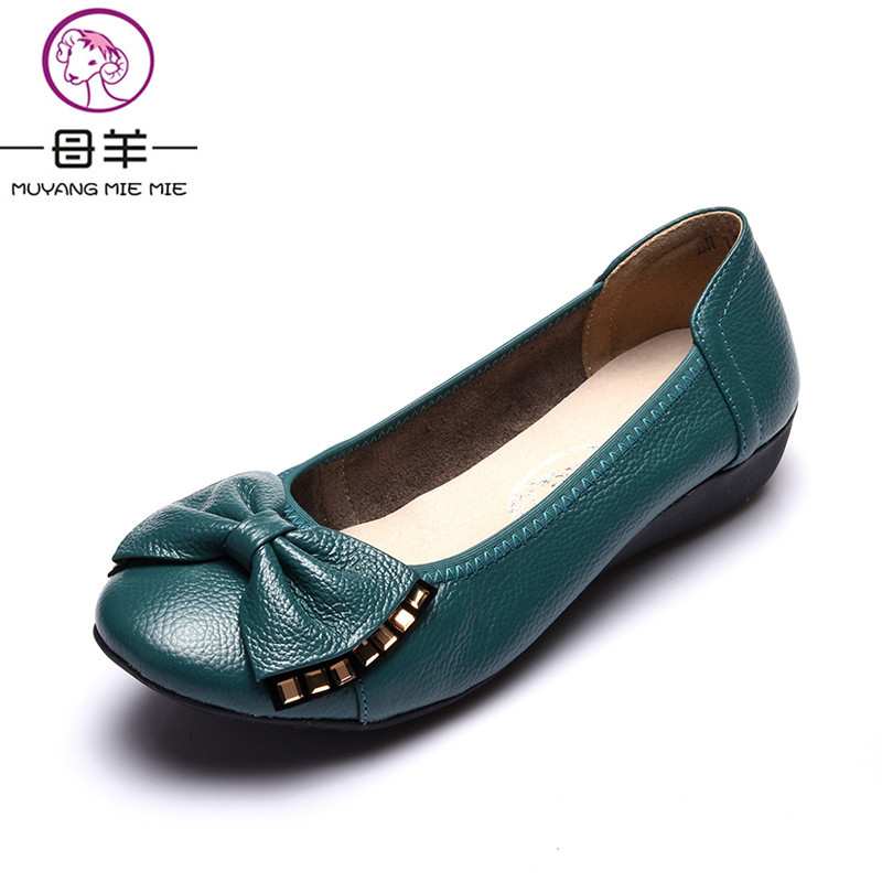 MUYANG MIE MIE Plus Size(34-43) Women Flats 2018 Spring Genuine Leather Ballet Flat Shoes Woman Casual Soft Loafers Women Shoes 2017 spring summer new women casual pointed toe loafers flats ballet ballerina flat shoes plus size 34 43