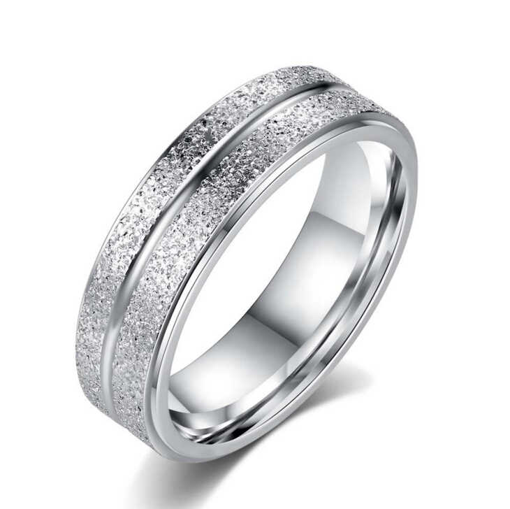 Anenjery Wedding Rings Stainless Steel Double Row Frosted Rings Titanium Steel anillos For Women Men T-R41