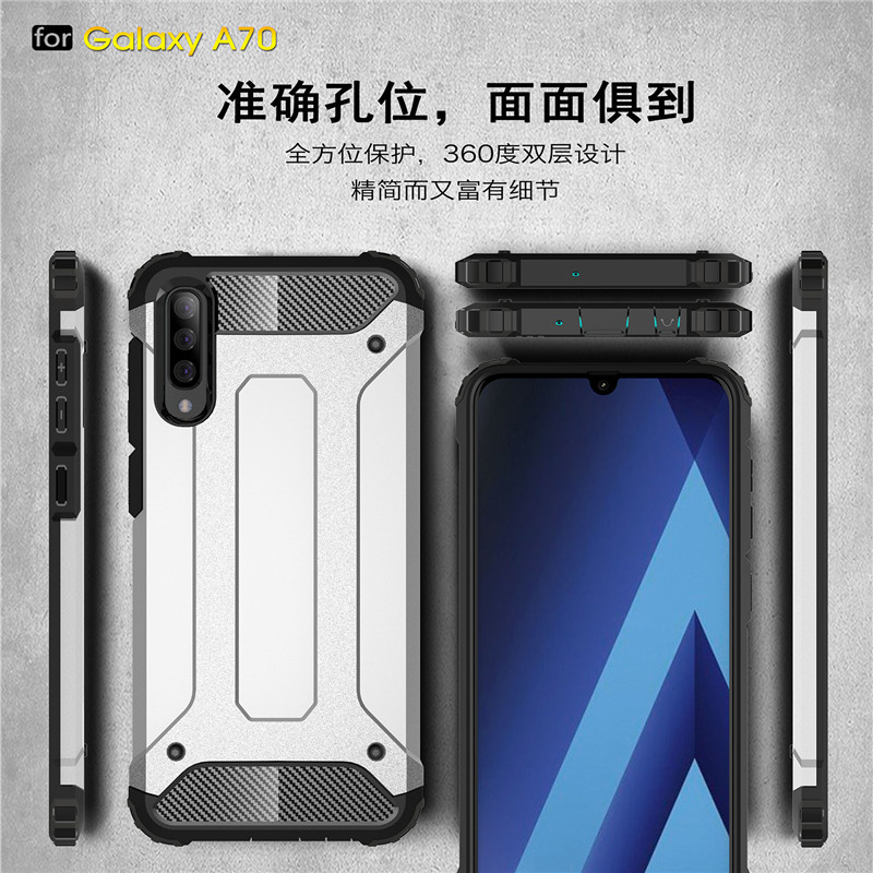For Samsung Galaxy A70 Case Shockproof Armor Silicone Hard PC Phone Case For Samsung Galaxy A70 Cover For Samsung A70 Fundas in Fitted Cases from Cellphones Telecommunications