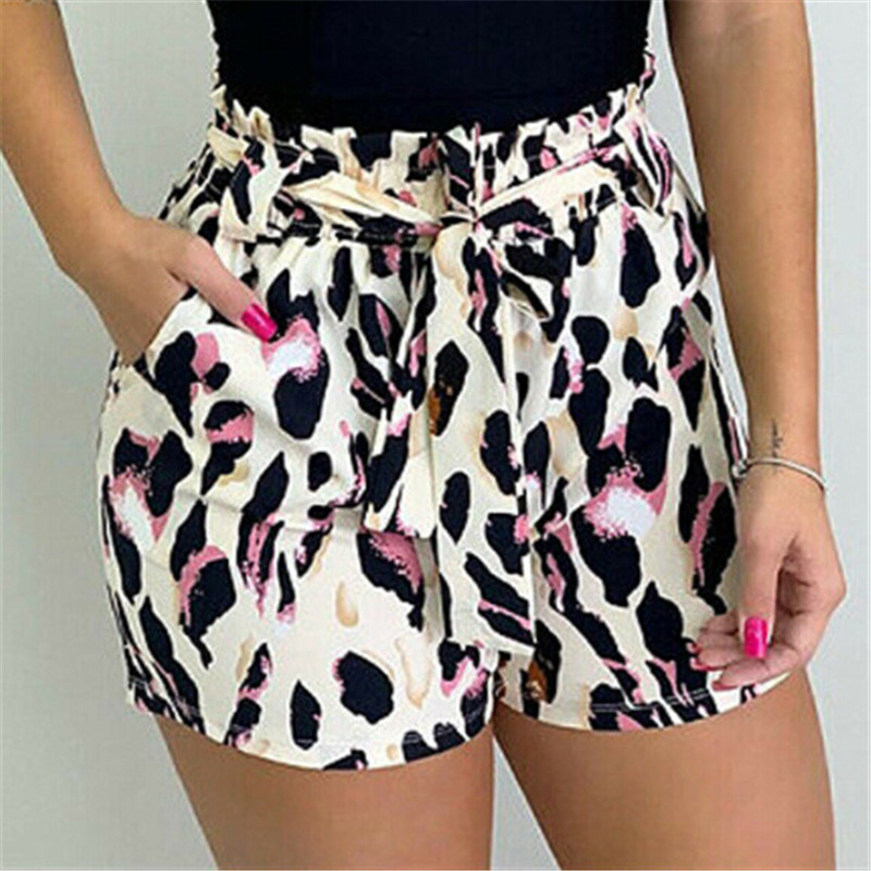 Trendy Women clothes pocket Bandage casual Summer Loose cotton Leopard Print High Waist Shorts one pieces