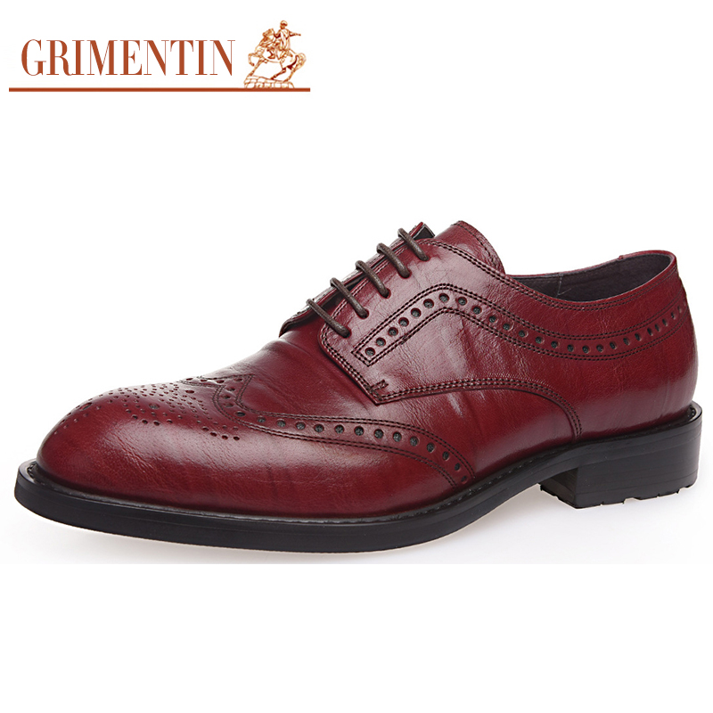 Tallado Diseñador Grimentin Hombres red Black Formales Cuero Genuino Italia Marca orange De Wingtip Oxfords Brown Zapatos R1nvwWvB