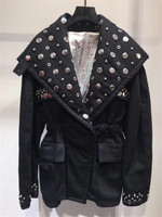 Красивый рок стиль тяжелая работа заклепки плиссированные талии оснастки большие карманы подкладке контрастного цвета куртка 0721