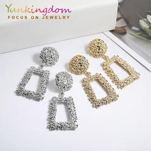 Yunkingdom 2019 new fashion jewelry geometric drop earrings for women silver/gold color