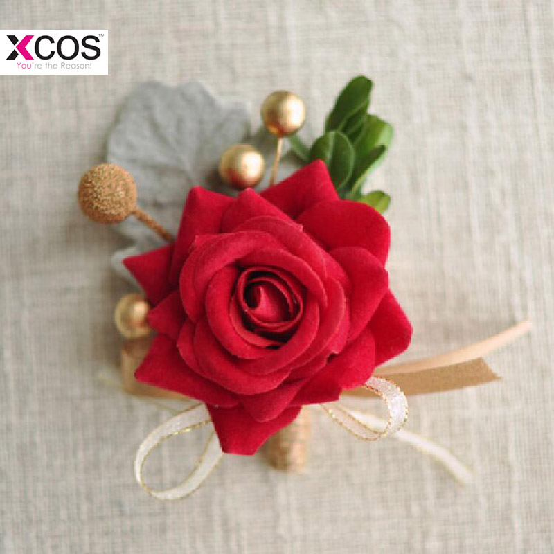 Romantic Wedding Prom Boutonniere Rose Flower Brooch Hand Corsage Red Burgundy Boutonniere Groom Bridesmaid Groom Wrist Flowers
