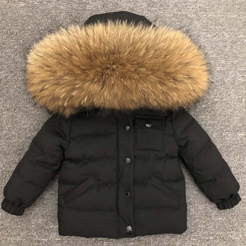 Куртка для девочек и мальчиков; Куртка для мальчиков; Зимнее пальто для девочек детская теплая Толстая куртка с капюшоном, с большим меховым...