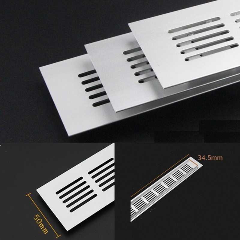 4Pcs/Lot 50mm Wide Anodized Aluminum Air Vent Ventilator Grille Cover Ventilation For Closet Shoe Air Conditioner