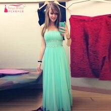 Mint Green Prom Kleider Trägerlose Lange elegante abendkleider Kristall Trägerlose Kleider Vestido de festa Z355