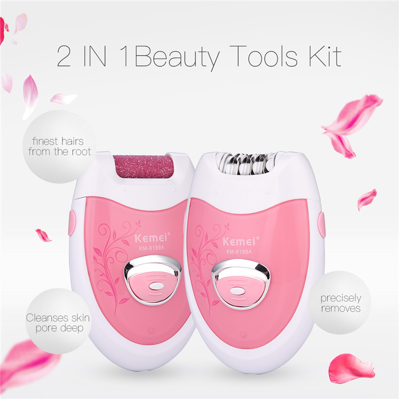 2 in 1 Rechargeable Lady Epilator Electric Hair Removal Depilatory+Callus Remover Pedicure Removal Exfoliator Foot Care Tool km 2199 5 in 1 electric epilator facial brush callus remover