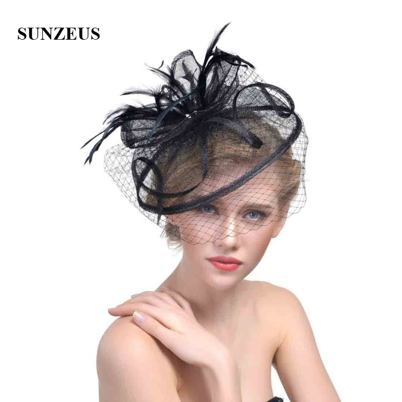 Champagne Women Hats Face Veil Bridal Feathers Fascinators Wedding Hats 2018 Newly Linen Tulle Women Party Hair Accessories SH32