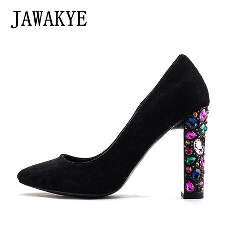 Chunky Wedding Heels: Colorful Rhinestones Heel Party Wedding Shoes Woman Chunky