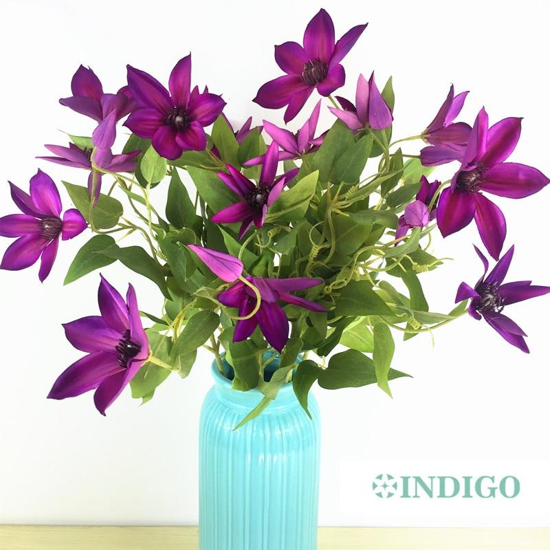 INDIGO- 5pcs / lot Purple Clematis Spray Flower Acasă Decoratitn - Produse pentru sărbători și petreceri