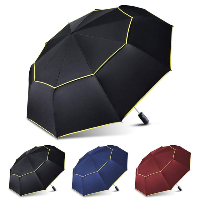 High Quality 120cm Fully-automatic Umbrella Men Rain Woman Double Layer 3 Folding Business Gift Umbrella Windproof Sun Umbrellas 5