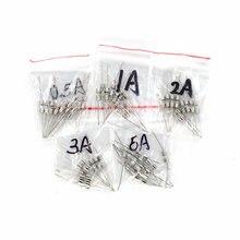 50 PCS 5 ערכים מכה מהירה זכוכית נתיך ערכת עם פין 3x10mm F0.5A F1A F2A F3A F5A 250 V 0.5A 5A מבחר סט